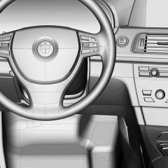 SVirtuelles Studio GmbH - trak Interieur des BMW 7 mit ICEM Surf und Alias, Lenkrad Outlines