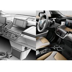 Virtuelles Studio GmbH - Strak Interieur des BMW i3 mit ICEM Surf und Alias, Seitenansicht