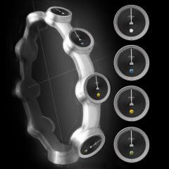 Entwurf: mehrgliedrige Uhr vor schwarzem Hintergrund