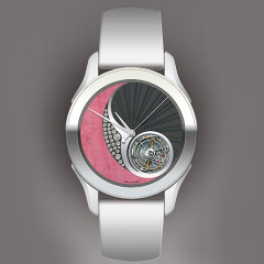 Entwurf: Uhr in grau und pink vor grauem Hintergrund