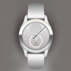 Entwurf: Uhr in Grautönen vor grauem Hintergrund