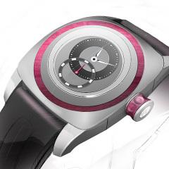 Entwurf: Uhr in silber und pink